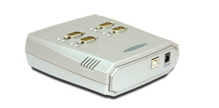 Vscom USB-4COM, an USB to 4 x RS232 serial port converter DB9 connector