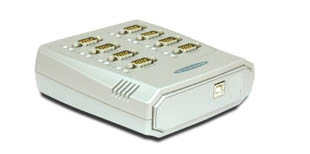 Vscom USB-8COM, an USB to 8 x RS232 serial port converter DB9 connector
