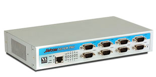 VScom NetCom 813RM PRO, an 8 port Serial Device Server for Ethernet/TCP to RS232/422/485, for 19-inch and AC power supply